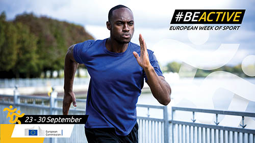 man running with #beactive logo in the background