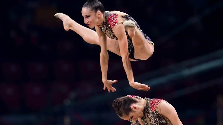 gymnastic team performing