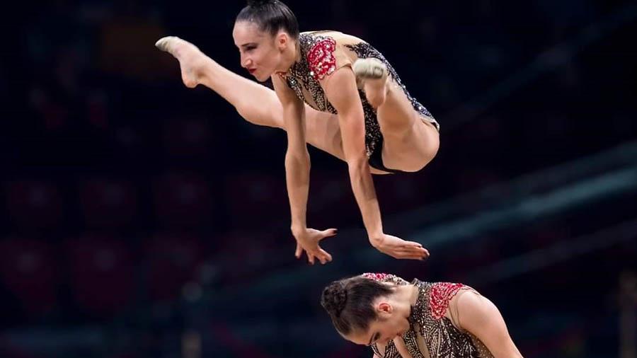 gymnastic team performing