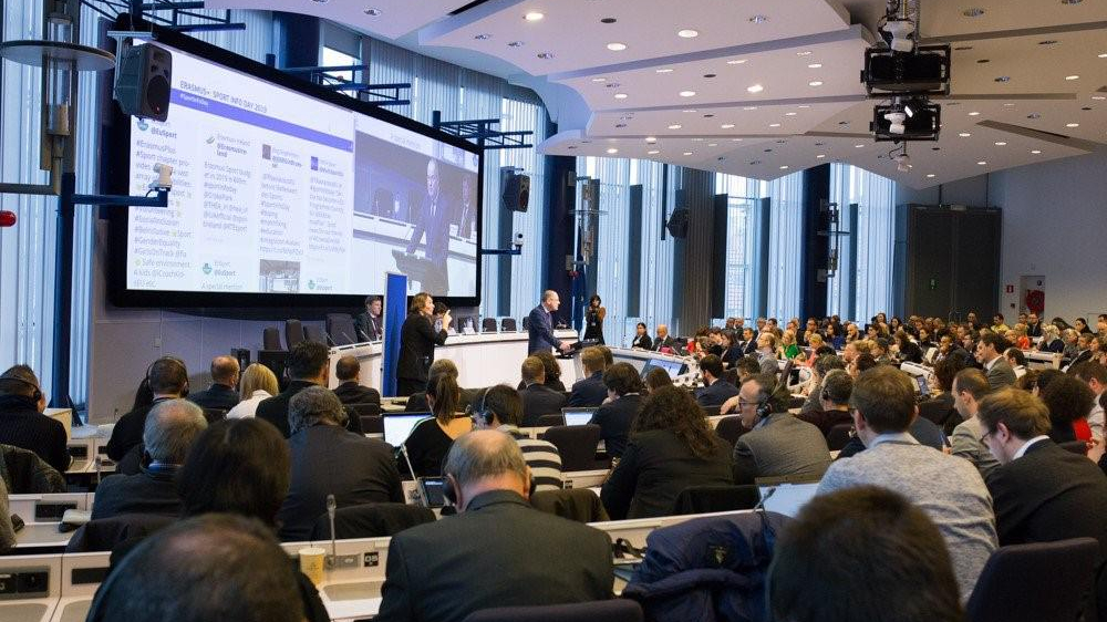 2019 Erasmus+ Infoday attendees during sitting at a plenary speech