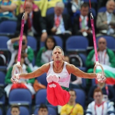 Yordan Yovchev performing gymnastics